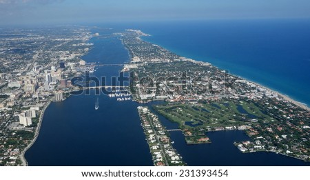 Aerial view of downtown West Palm Beach and Palm Beach, Florida - stock photo