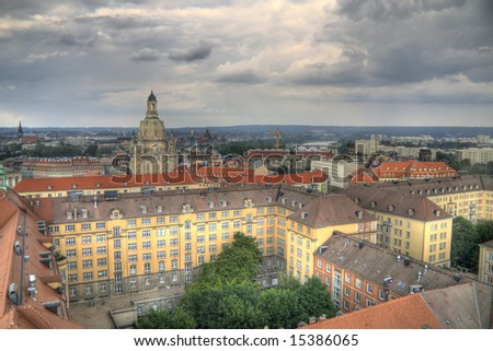 Aerial view of Dresden. HDR composite image created from three different exposures - stock photo