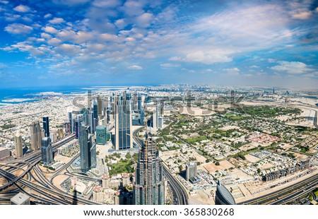 Aerial view of Dubai Downtown, UAE. - stock photo
