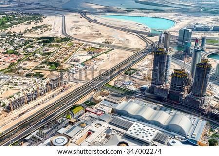 Aerial view of Dubai skyline, UAE. - stock photo