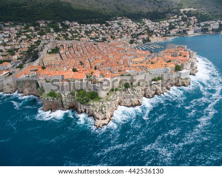 aerial view of Dubrovnik, Croatia. - stock photo