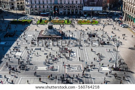 Aerial view of duomo square in Milan - stock photo