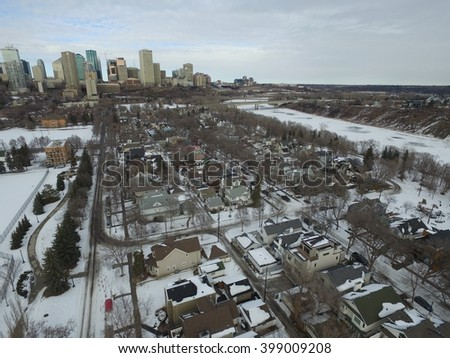 Aerial view of Edmonton in winter. Capturing the North Saskatchewan River and downtown.  - stock photo