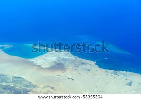 aerial view of egypt coastline - stock photo
