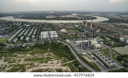 aerial view of electric power generator thermal plant in thailand - stock photo