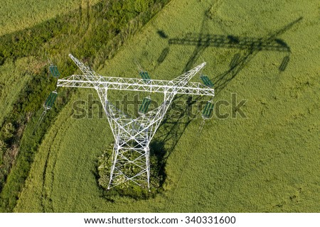 Aerial view of electrical wires large scale power energy tower in Poland - stock photo