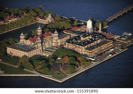 Aerial view of Ellis Island  New York - stock photo