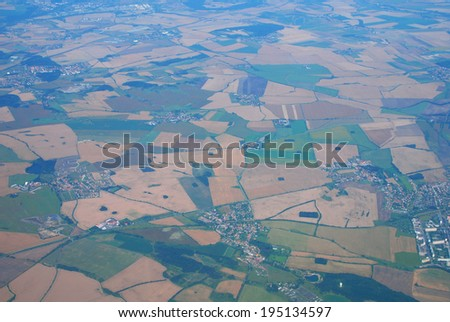 Aerial view of European countryside with fields