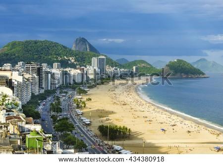 Aerial view of famous Copacabana Beach at sunny day Rio de Janeiro, Brazil - stock photo