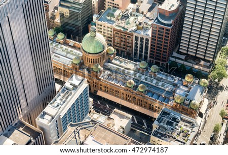 Aerial view of famous shopping mall around Sydney CBD.