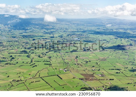 Aerial view of farmland, North Island, New Zealand - stock photo