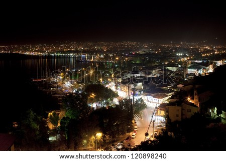 Aerial view of Fethiye at night, Turkey