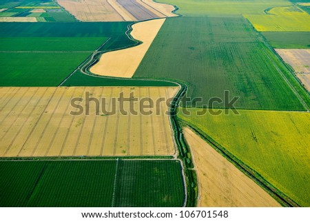 aerial view of fields in summer - stock photo
