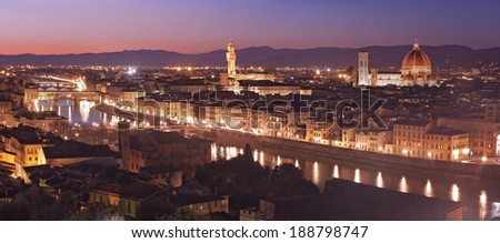 Aerial view of Florence at dusk
