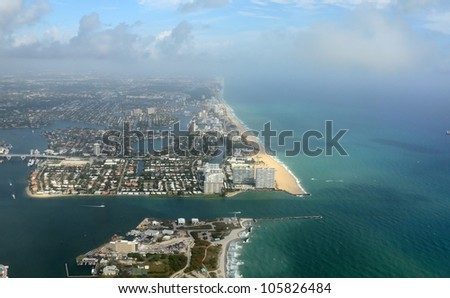 Aerial view of Fort Lauderdale Beach, Florida - stock photo