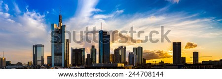Aerial view of Frankfurt with Hauptwachen at sunset - stock photo