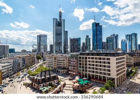 Aerial view of Frankfurt with Hauptwachen in Frankfurt, Germany - stock photo