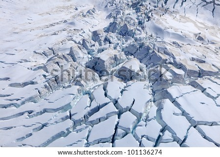 Aerial view of Franz Josef glacier from helicopter, Westland Tai Poutini National Park on the West Coast of New Zealand
