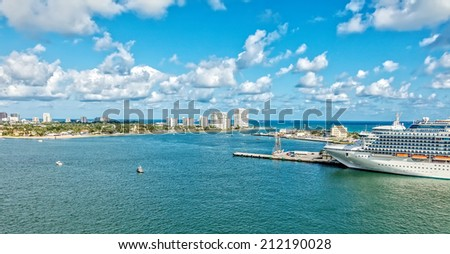 Aerial view of Ft. Lauderdale and Port Everglades along the intercoastal waterway. - stock photo