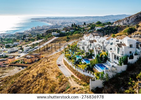 Aerial view of Fuengirola. Fuengirola is a large town and municipality on the Costa del Sol , Malaga. Andalusia, southern Spain - stock photo