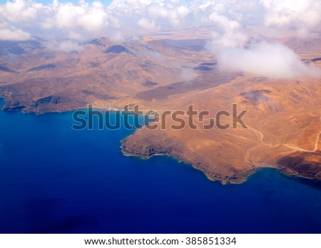 Aerial view of Fuerteventura island at Canary Islands of Spain - stock photo