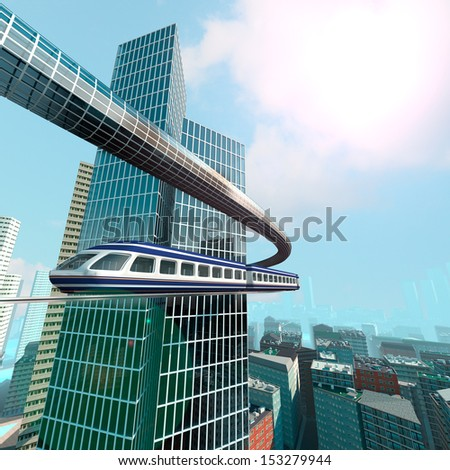 aerial view of Futuristic City - stock photo