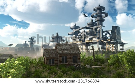 aerial view of Futuristic City with flying spaceships and ancient house - stock photo