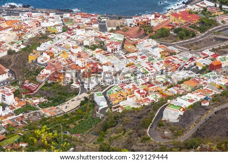 Aerial view of Garachico city. Tenerife. Canary Islands. Spain.  - stock photo