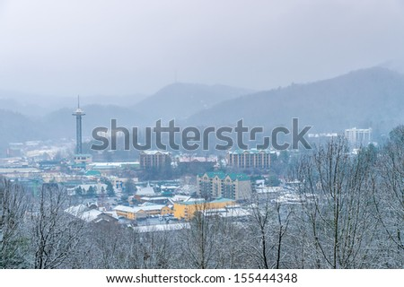 Aerial view of Gatlinburg during winter time - stock photo