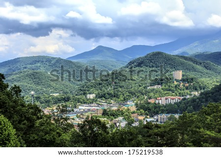 Aerial view of Gatlinburg, Tennessee and the Great Smoky Mountains - stock photo