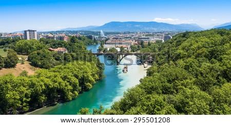 Aerial view of  Geneva city in Switzerland - stock photo