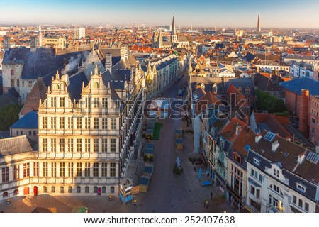 Aerial view of Ghent from Belfry - City Hall and beautiful medieval buildings of the Old Town, Belgium. - stock photo