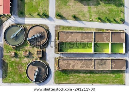 aerial view of Giannitsa city sewage treatment plant - stock photo