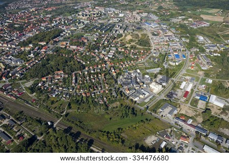 Aerial view of Gizycko - town located in the center of Masurian District, Poland