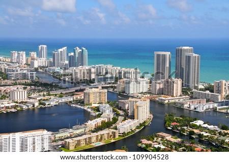 Aerial view of Golden Isles Lake, Golden Isles, Miami, Florida, USA - stock photo