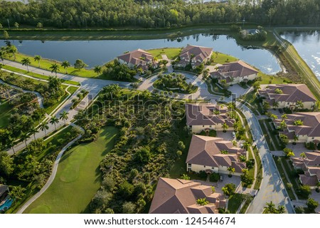 aerial view of golf community in palm beach county florida - stock photo
