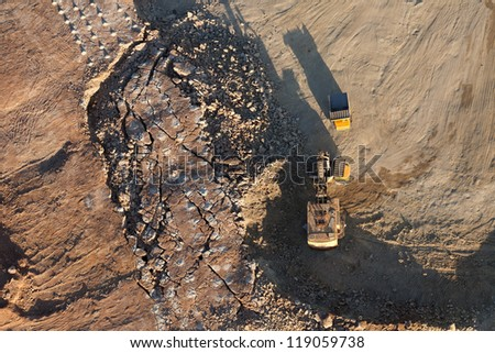 Aerial view of gravel quarry in Lithuania, Europe. - stock photo