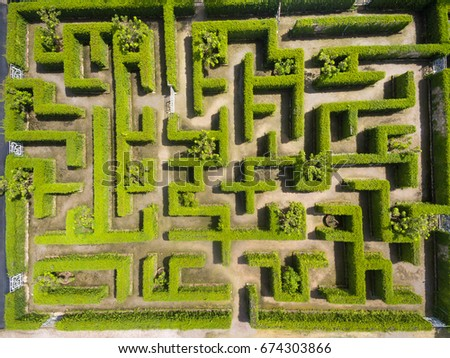 Aerial View Green Maze Garden Stock Photo (Download Now) 674303866 on