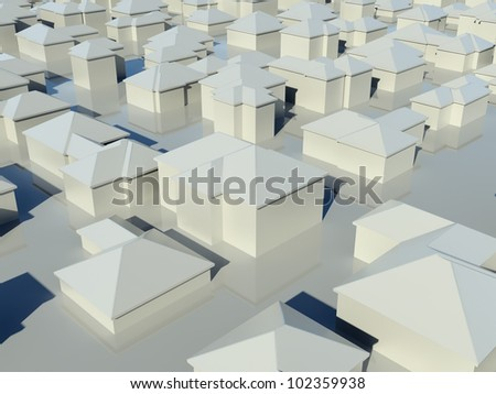 Aerial view of group of simple white models of houses with shadows