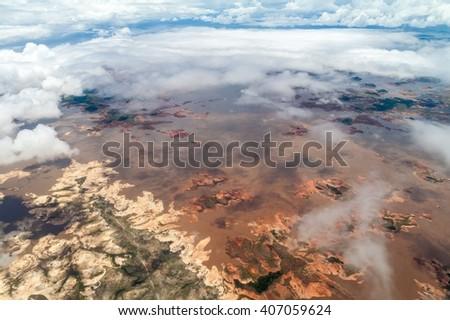 Aerial view of Guri reservoir on the Caroni River in Venezuela. - stock photo