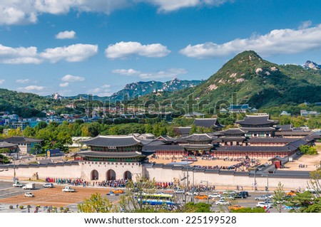 Aerial view of Gyeongbokgung Palace in Seoul, South Korea. - stock photo