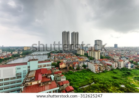 Aerial view of Ha Dong district, a suburb area of Hanoi with high-rise under construction, town houses, apartment buildings. Home and office construction have been rising in Vietnam lately