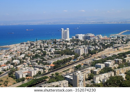 Aerial view of Haifa and Mediterranean sea from Mount Carmel, Israel  - stock photo
