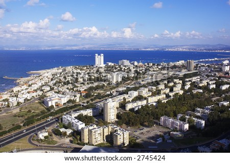 aerial view of Haifa city, Israel, Mediterranean sea, Middle East - stock photo