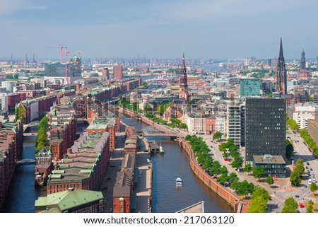 Aerial view of Hamburg and port in summer - stock photo