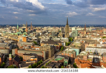Aerial view of Hamburg city center, Germany - stock photo