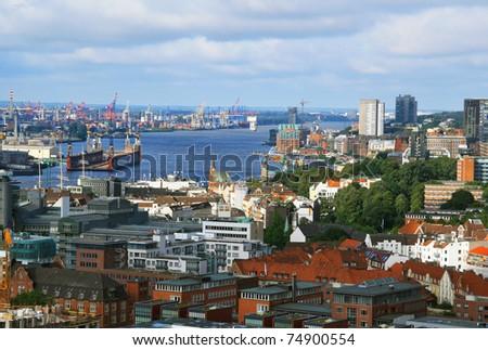 aerial view of Hamburg port - stock photo