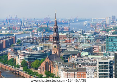 Aerial view of Hamburg port in a summer day - stock photo