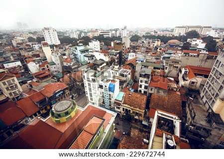 Aerial view of Hanoi, capital of Vietnam - stock photo