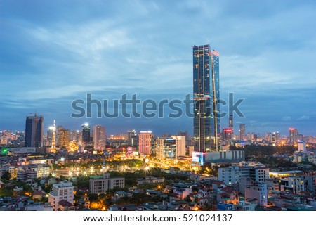 Aerial view of Hanoi cityscape at Lieu Giai street - Dao Tan street - Kim Ma street, Ba Dinh district. Hanoi skyline at twilight